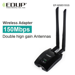 Wholesale Networking High Gain - Wholesale- EDUP high power usb wifi adapter 150mbps high gain wifi antenna 2*6dBi long distance wi fi receiver dongle network card desktop