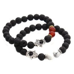 Wholesale Tibet Silver Natural Stone Rings - New Arrival Lava Rock Beads Bracelets Unisex Fatima hand Beads Chain mens Natural stone bangle Bracelet For women Fashion Jewelry Crafts