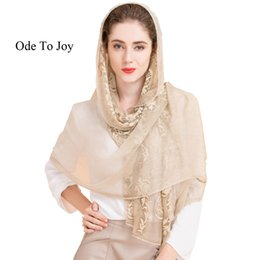Wholesale Embroidered Long Scarves - Wholesale- New arrival unique style 100% silk twinkle embroider women scarf Fashion large Long Scarves solid Shawl wrap Female 180x110cm