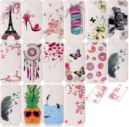 Wholesale Butterfly Pouch Iphone - Case For Iphone 8 Butterfly Skull Soft TPU IMD Iphone8 I8 FlowerDreamcatcher Dolphin Cartoon Gel Eiffel Tower Blossom Pineapple Skin Cover