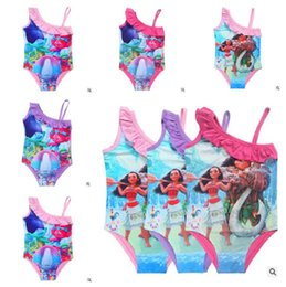 Wholesale Childrens Clothes Free Shipping - Moana Trolls Swimmwear 2017 Girls Cartoon Printed Lace Strappy One Piece Kids Swimsuits Baby Girls Childrens Clothing DHL Free Shipping