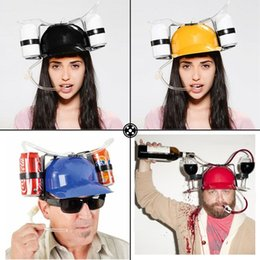 Wholesale Helmet Games - Beer Colar Can Holder Drinking Helmet Drinking Hat Fun Cool Unique 5 Colors Party Holiday Game Hat Cap