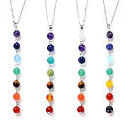 Wholesale Black Beads Choker - Fashion Women Multicolor Yoga Jewelry 7 Chakra Healing Balance Beads Pendant Necklace Natural Stone Choker Collar Necklace