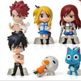 Wholesale Lucy Fairy Tail - Action Figure Keychain Anime Fairy Tail PVC Figures 6pcs Set 5cm New Natsu Gray Lucy Erza Collecion Dolls DHL Free