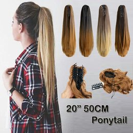 """Wholesale Two Ponytails Straight Hair - Wholesale-Newest 20"""" Two Tone Ombre Long Straight Claw On Ponytail Synthetic Hair Pony Tail Clip In Hair Extensions Women's Fashion B10G"""