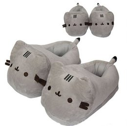 Wholesale Adult Cat Slippers - Soft Cat Plush Shoes Japanese Anime Kawaii Pusheen Cat Slippers For Adult Christmas Gift For Girlfriend