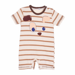Wholesale Totoro Clothes - Wholesale- 2016 Newborn Baby Summer Cotton Boy Girls Totoro Striped Rompers One-piece Jumpsuits Infant Clothing 0-24Months G2