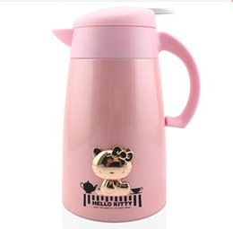 Wholesale Thermo Glass Cup - Wholesale- Hello Kitty Stainless Steel+Glass Refill 1000ML Thermos Cup Travel Hiking Thermo Mug