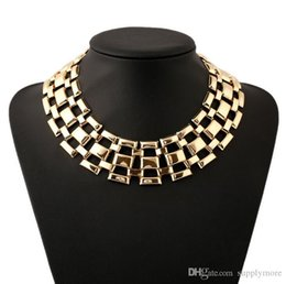 Wholesale Gold Metal Choker Collar - Trendy Square Maxi Punk Collar Necklaces Geometric Jewelry Statement Fashion Gold Plated Metal Torques Women Short Necklace