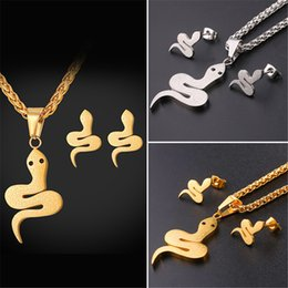 Wholesale Snake Necklace Earrings - U7 Mystery Snake Pendant Necklace Stud Earrings Set Gold Plated Stainless Steel With Austrian Rhinestone Jewelry Set GPE2535