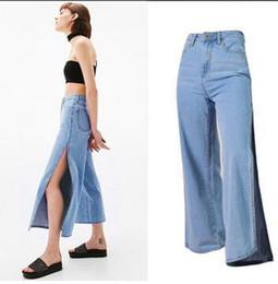 Wholesale Wide Leg Pants Culottes - 2017 new fashion waist bilateral split loose breathable culottes wild seven eighths jeans for women wide leg pants