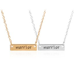 Wholesale Love Warriors - Cancer Survivor Suicide Awareness and Prevention Inspirational Handstamped Warrior Bar Stick Semicolon Healthy Amulet statement Necklace