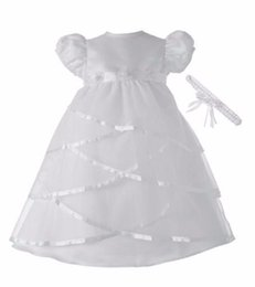 Wholesale Dress Size 18 Sleeves - Infant Girls Boys Christening Dress Baptism Gown Satin Short Sleeves Crew Neck Size 3 6 9 12 15 18 24 Month Free Shipping