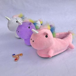 Wholesale Pvc Children Slippers - 3 Colors Unicorn Plush Slippers Unicorn Casual Shoes Warm Household Winter Slippers for Unisex Big Children Shoes 2pcs pair CCA7483 20pairs