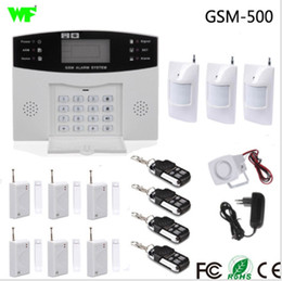 Wholesale Fire Alarm Siren - Metal Remote Control Voice Prompt Wireless door sensor Home Security GSM Alarm systems LCD Display Wired Siren Kit SIM SMS Alarm