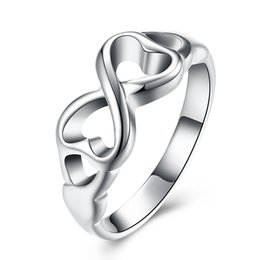 Wholesale Charm Lady Ring - Fashion 925 Silver Plated Rings Cute Ladies Women Finger Rings Mix Size Charms Ring Free Shipping