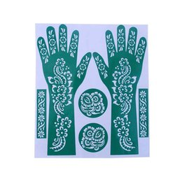 Wholesale Tattoo Color Arms - Wholesale- Hot Sale Women DIY India Henna Temporary Tattoo Stencils For Hand Leg Arm Feet Body Art Decal 23*27cm Random Color
