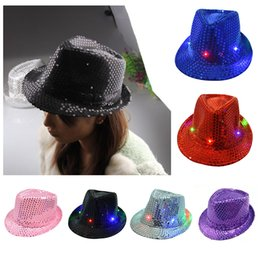 Wholesale Led Fedora Wholesale - Unisex Flashing Light Up LED Fedora Trilby Sequin Fancy Dress Dance Party Hat