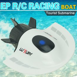 Wholesale Submarines Toys - Wholesale-RC Toys Mini Submarine Toy 4CH High Powered Speed RC Boat Ship 2.4G Radio Boat Plastic Tourist Submarine Model Outdoor Toys