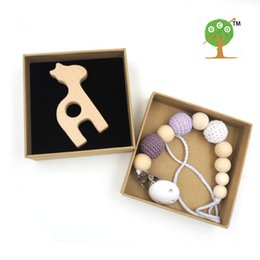 Wholesale Crochet Baby Giraffe - Wholesale-gift box Wooden giraffe teether Pacifier clip,lilac grey Crochet beads toy, Baby Girl toy pastel crochet rope ecofriendly NT174