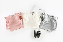 Wholesale Girls Fall Shirts - INS autumn NEW arrival Girls Kids Little O-neck flying long sleeve solid colors T shirt kids causal 100% cotton baby kids fall t shirt