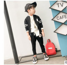 Wholesale Wholesale Sweatshirts Zip - Boys sweatshirt outfits fashion kids long sleeve stripe zip up coats+pants 2pcs Baseball Style outfits 2017 New children clothing G0561