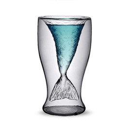 Wholesale Shooting Water - Crystal Mermaid Cups Glass Novelty Creative Double Layer Mug Vodka Shot Drinking Water Bar Party Cup