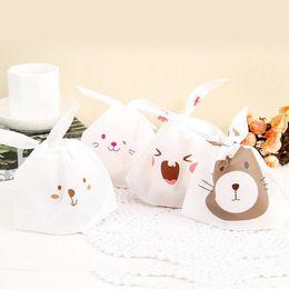 50шт/лот милый кролик уха печенья сумки самоклеящиеся пластиковые пакеты для печенья Снэк выпечки пакета мешок еды от