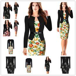 Wholesale Pencil Wiggle Dresses - 2017 New Fashion Stripe Women Dress Celeb Style Casual Career Business Sheath Patchwork Pencil Back Zipper Wiggle Party Dresses Size S-2XL