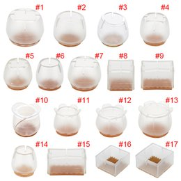 Wholesale Round Table Furniture - Wholesale- 10pcs Silicone Rectangle Square Round Chair Leg Caps Feet Pads Furniture Table Covers Wood Floor Protectors Hogard