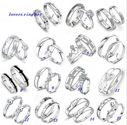 Wholesale Cross Crown Rings - Wedding Rings Sets Jewelry Women Men 30% White Gold Silver Lovers Ring Open Size AAA Crown Cross Couples Ring Mix Designs MZ