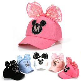 Wholesale Girls Baseball Hats Cartoon Mouse Pearl Lace Bowknot Sport Hip Hop Caps New Fashion Cotton Sports Casual Caps Cute Girl Snapback Caps A6398