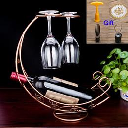 bote de porcelana de metal grossista Desconto 1 pcs titulares de garrafa de vinho de arte de Ferro de Metal rack de vinho Galvanoplastia decoração da sala de desenho para Casa suprimentos Stand para garrafas ZL2485