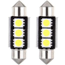 Wholesale Smd Light 36mm - 10pcs CANBUS Festoon Dome Door Reading lights Error Free 3 LED 5050 SMD 6418 C5W License Plate led Light Bulb 36mm 39mm 42mm