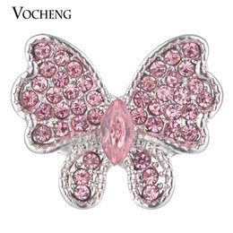 Wholesale Crystal Butterfly Charms - VOCHENG NOOSA Ginger Snap Jewelry Butterfly Button Charms Filled Crystal 3 Colors 18mm Vn-1772