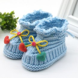 Wholesale Knitting Booties Infants - Wholesale- Winter Woolen Baby Shoes Infants Crochet Knit Fleece Warm Boots Toddler Girl Boy Wool Snow Crib Shoes Booties