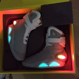 Wholesale Mag Back Future - AIR Mag Marty McFlys Sneakers LED Back To The Future Glow In The Dark Men Basketball Shoes Sneaker Gray top quality size 7-12