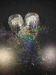 Wholesale Nail Powder Decoration - 50pcs 1g Glitter Color Holographic flakes with one Brush Nails Pigment Ultrafine laser Powder Magic Glimmer Nail Art Decorations Accessories