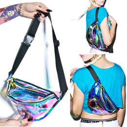 Wholesale Rainbow Women Belt - Wholesale- Waist bag 2016 New Rainbow Transparent PVC Bag Silver Hologram Laser waterproof belt multi-functional pockets travel bag