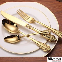 Wholesale Steel Table Spoons - Stainless Steel Cutlery Gold Plated Flatware Set Golden Table Fork Spoon Knife Dessert Spoon Western Dinnerwar