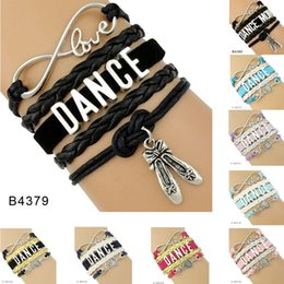 Wholesale Girl Dancer Jewelry - (10 Pieces Lot)Infinity Love Dance Mom Dancer Shoes Charm Leather Wrap Cuff Bracelets For Women Men Girl Jewelry