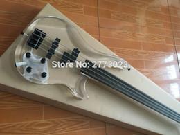 Wholesale Acrylic Guitars - New Arrival Fretless Bass, Factory Custom 4 string P Electric Bass guitar, Transparent acrylic Head & Body, Black hardware