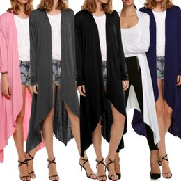 Wholesale front row - Women's Long Sleeve Open Front Long Cardigan Coat Casual Long Line Draped High Low Hem Knit Sweater