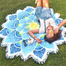 Wholesale New Arrivals Blankets - Wholesale New Arrival Round Mandala Tapestry Lotus Mat Yoga Bohemian Flower Printed Shawl Tassel Sunblock Beach Towel Tapestries Blanket