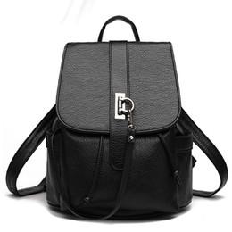 Wholesale Mochilas Style Vintage - 2017 Women Backpacks Solid vintage School Bags for Girls black leather mochilas mujer Teenagers Laptop Notebook