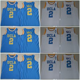 Wholesale Mix Order Color - Lonzo Ball 2 UCLA Bruins Russell Westbrook Zach LaVine 0 14 Blue White Jersey Blue White Color Stitched Jerseys Can Mix Order Free Shipping