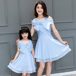 Wholesale Korean Mother Daughter Dress - 2016 summer new Korean fashion princess dress Bow Family Matching Outfits mother daughter dresses baby girl clothes