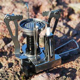 faltender miniofen Rabatt Großhandel Outdoor Camping Wandern Mini Gasherd Portable Butan Faltung Lager Herd hochenergetische Keramik piezoelektrische Zündung