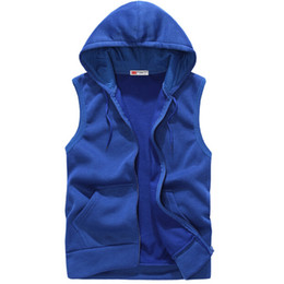 Wholesale Mens Slim Hoodies Wholesale - Wholesale-EAS 2016 New Fashion Casual Mens Sleeveless Hoodies Slim Fit s Hip Pop Vest Waistcoat Zipper Hoodies Sweatshirts For Men