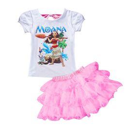Wholesale Girls Tshirt Tutu - MOANA Baby Girl Clothes Summer Casual Sets Children Cotton Tshirt skirt Dress 2 PCS Suits Birthday Kids Clothing